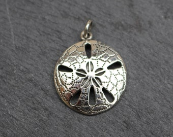Sand Dollar Pendant, Sterling Silver, Sand Dollar Charm, Sand Dollar Necklace, Necklace Component, Ocean Pendant, Silver Sand Dollar, 925