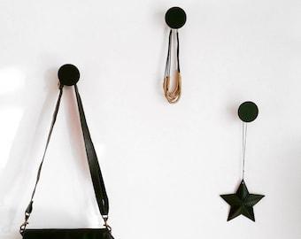 Modern Round Wall Hooks, Scandinavian Design, Black Wall Hook - Metalya