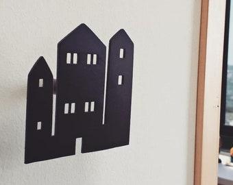 Houses Wall Hooks, Modern Coat Rack, Decorative Wall Hook, Scandi Wall Hook