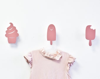Nursery Wall Hooks, Girls Wall Decor, Modern Wall Hook, Ice Cream