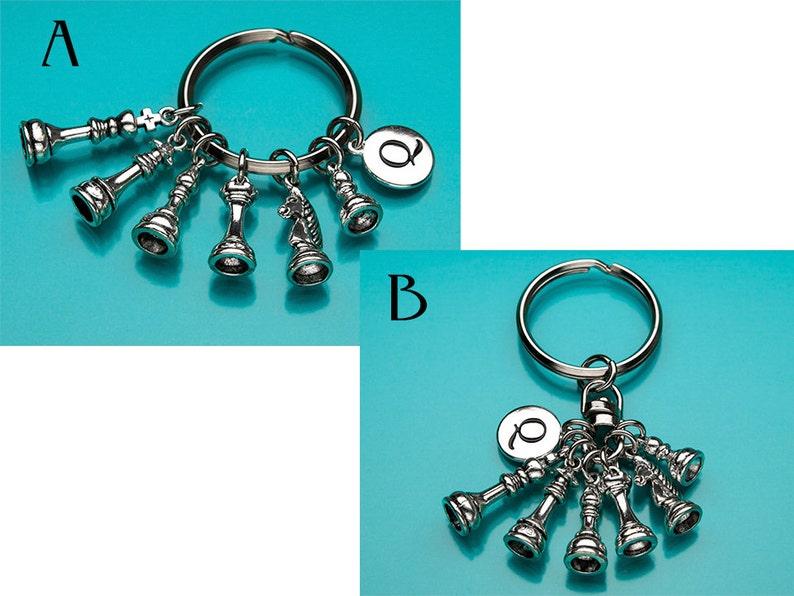 Chess Pieces Key Ring Initial Keychain Tiny Chess Pieces Keychain Personalized Keychain Chess Set Keychain Custom Keychain 715