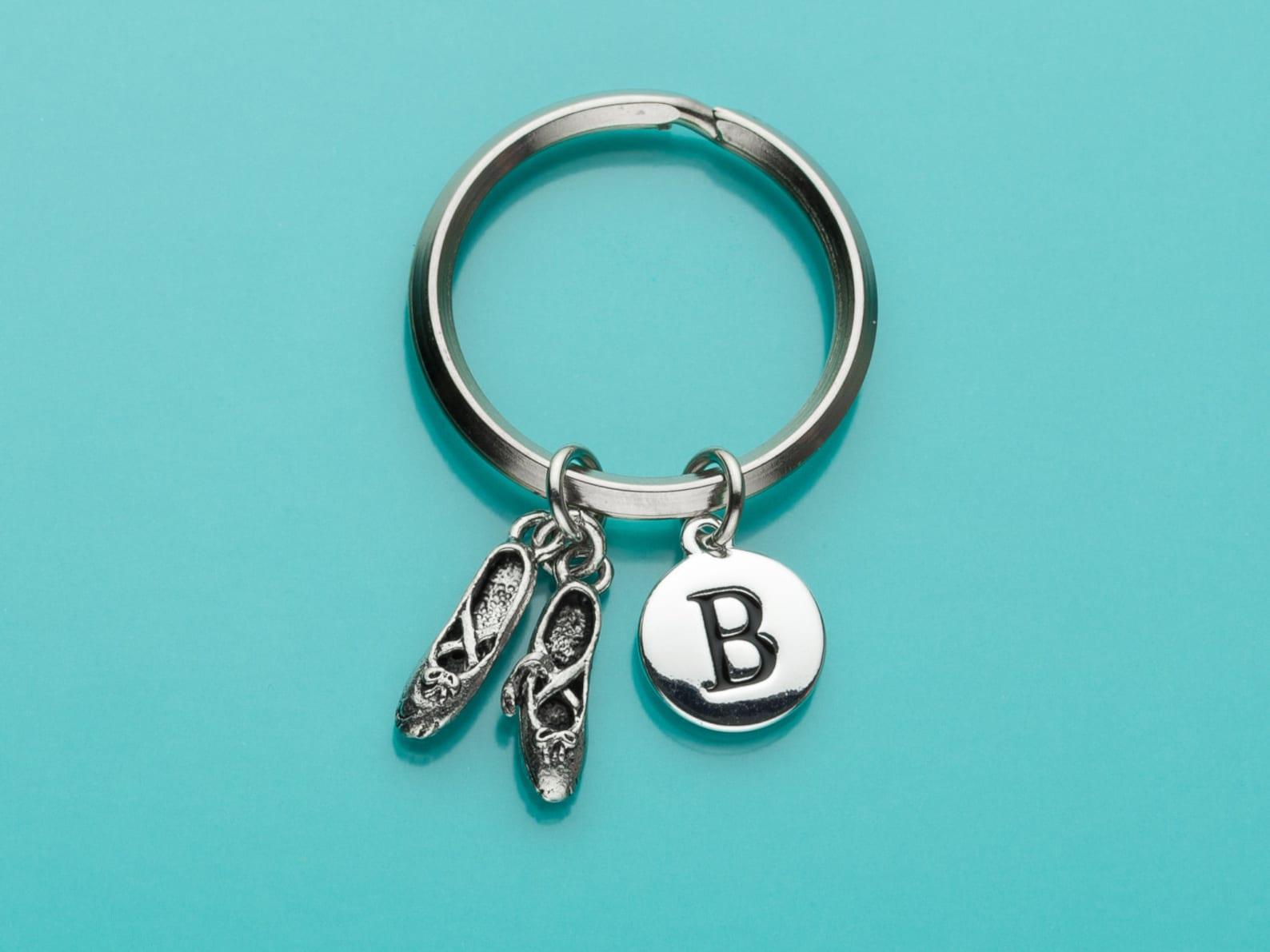 ballet slippers keychain, ballet slippers key ring, initial keychain, personalized keychain, custom keychain, charm keychain, 25