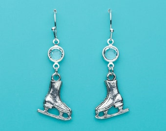 Ice Skate Earrings, Ice Crystal Earrings, Figure Skate Earrings, Ice Skating Earrings, Dangle Earrings, Gifts for Her, 137