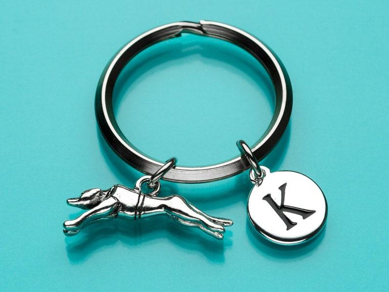 Personalized Keychain Racing Greyhound Greyhound Keychain Greyhound Key Ring 170 Dog Charm Initial Keychain Custom Keychain