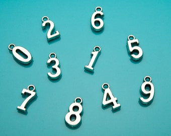 Number Charm, Number to add to Silver Keychain, Silver Number, Numerals, 724