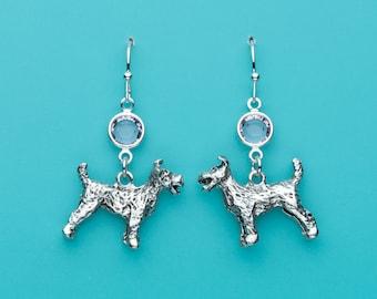 Schnauzer Earrings, Schnauzer Dog Earrings, Pale Pink Crystal Earrings, Animal Earrings, Dog Earrings, Dangle Earrings, Gifts for Her, 314