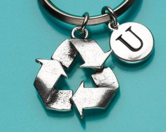Recycle Keychain, Recycle Symbol Key Ring, Recycling Charm, Personalized Keychain, Custom Keychain, Charm Keychain, 777