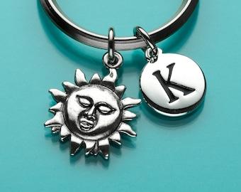 Sun God Keychain, Sun God Key Ring, Celestial Charm, Initial Keychain, Personalized Keychain, Custom Keychain, Charm Keychain, 346