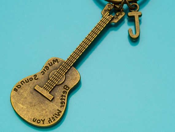 Electric Guitar Keychain Bronze Electric Guitar Key Ring Etsy