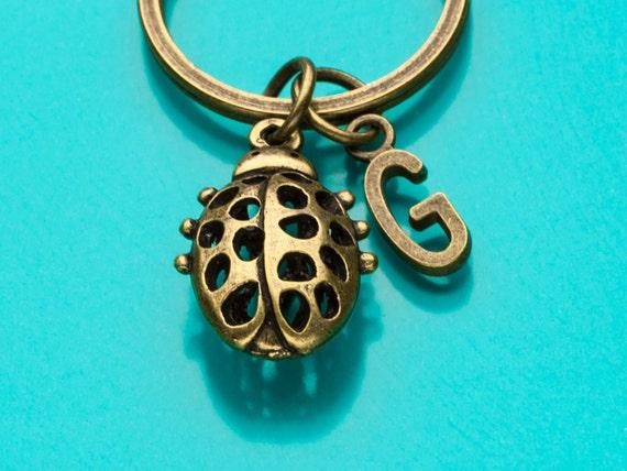Coccinelle porte-clés, porte-clés coccinelle, Bug charme, Trousseau d'accès Initial, personnalisés porte-clés, porte-clés personnalisé, Charm trousseau, 541