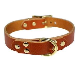 a70144489 Light Brown Leather Choker with Brass Hardware, Light Brown PetPlay Collar,  Light Brown Leather Bondage Collar, Tan BDSM Collar