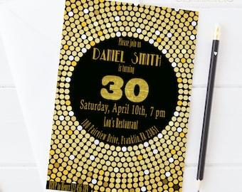 Disco Birthday Invitation / Gold and Black / Printable