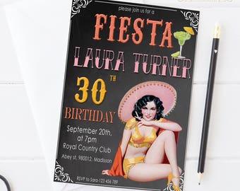 30th Birthday Invitation Female / Glitter / Printable