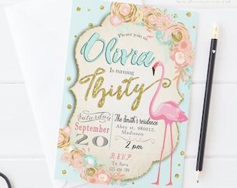 Flamingo Birthday Invitation / Digital Printable Invite for Adults/ DIY Pink Party