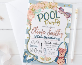 Pool Party Invite Digital Printable Birthday Invitation 30th 40th 50th 60th 70th Any Age DIY