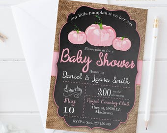 A Little Pumpkin is on Her Way Invitation | Digital Printable Baby Shower Invite | Fall Invitation | DIY Party