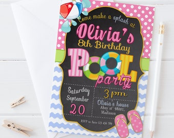 Pool Party Invitation / Digital Printable Swimming Birthday Invite for Kids / DIY Party