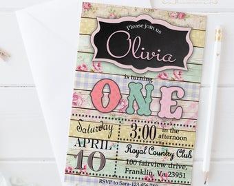 Shabby Chic First Birthday / Digital Printable Birthday Invite for Kids / The Big One / DIY Party