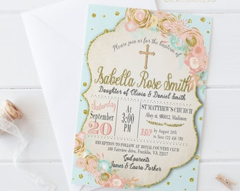 Floral Baptism Invitation / Digital Printable Invite / DIY Party