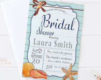 starfish bridal shower invitations digital printable birthday invite for wedding diy beach party invitation