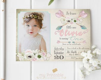 Be Brave Little One Invitation Digital Printable Invite For Kids First Birthday Party DIY 1st