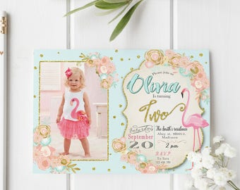 Flamingo Birthday Invitation / Digital Printable Invite for Kids / DIY Pink Party