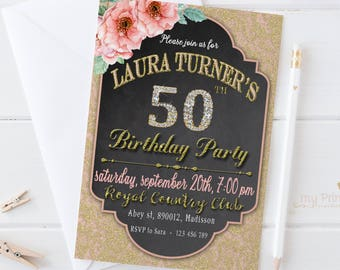 Diamond Birthday Invitation / Digital Printable Invite for Adults / DIY Party