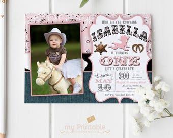 Cowgirl First Birthday Invitation / Digital Printable Birthday Invite for Kids / first birthday western Party / DIY 1st birthday