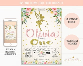 Fairy Invitations Instant Download Birthday Printable Invitation Party Ideas For Girls Gold Glitter Woodland