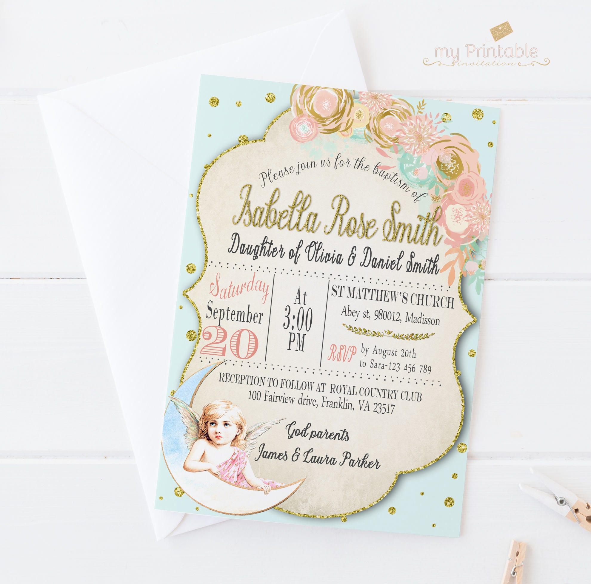 Girl baptism invitations angel editable printable invitation | Etsy