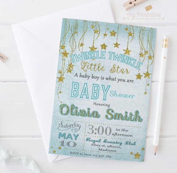 picture about Free Printable Twinkle Twinkle Little Star Baby Shower Invitations named Twinkle Twinkle Very little Star Boy or girl Shower Invitation, Blue And Gold Invite, Twinkle Twinkle Social gathering, Printable Or Posted, Very little Star Template