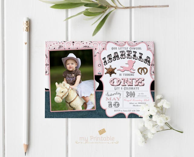 Cowgirl First Birthday Invitation Digital Printable Invite For Kids Western Party DIY 1st
