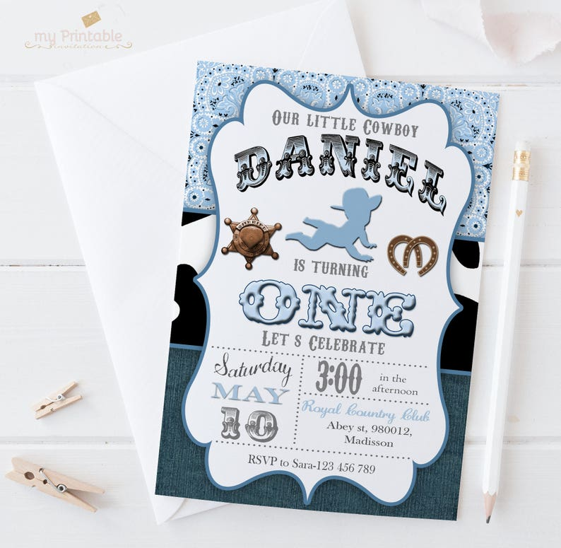 Cowboy First Birthday Invitation Digital Printable