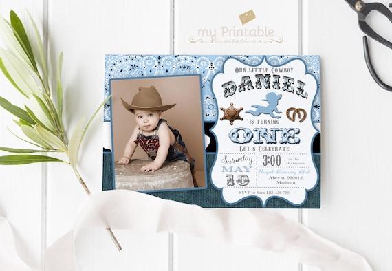 Cowboy First Birthday Invitation Digital Printable