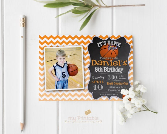 Basketball Birthday Invitation With Photo Digital Printable