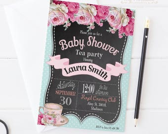 Baby Shower Tea Party Invitation / Digital Printable Baby Shower Invite / DIY Boy or Girl Party