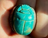 Majestic ScaRAb turquoise sterling silver ring