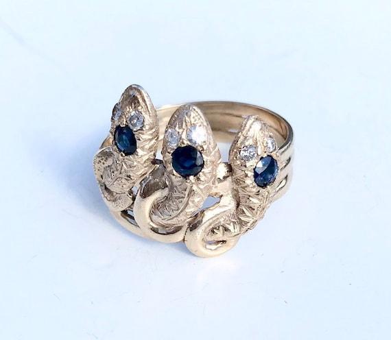 Antique Edwardian 14K gold triple snake ring sapph