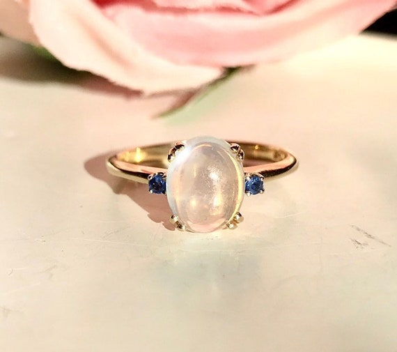 14K moonstone sapphire engagement ring vintage moo