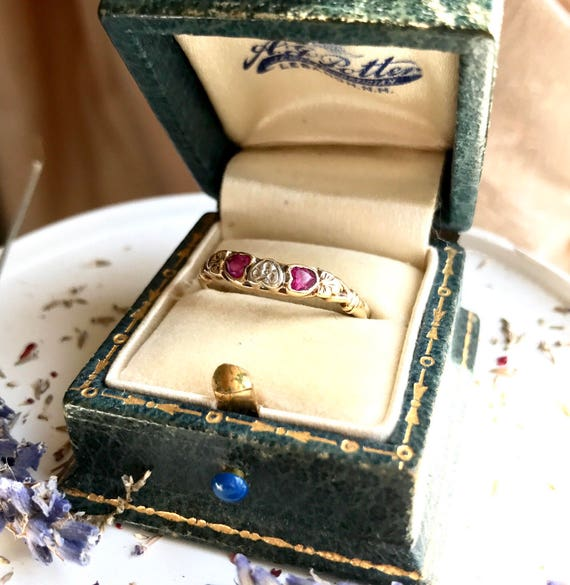14k Art Deco ruby hearts pansy stack ring