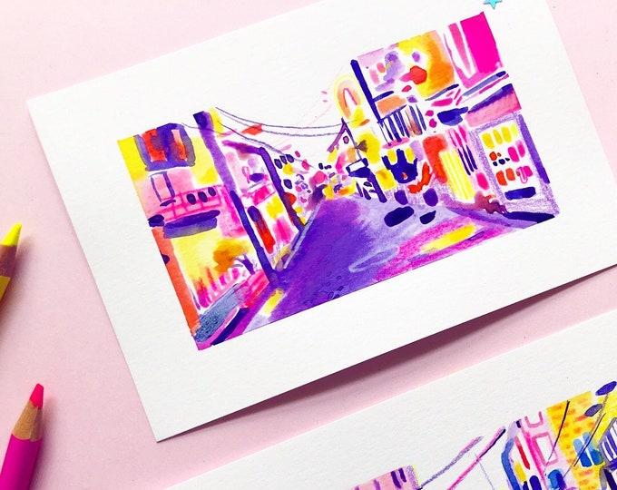 Original Art - Purple Tokyo Alley Streetscape