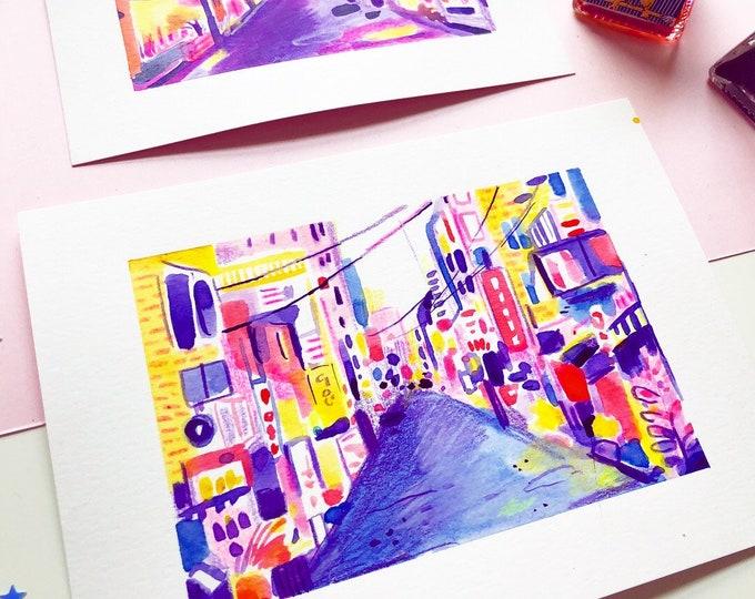 Original Art - Blue + Yellow Tokyo Alley Streetscape