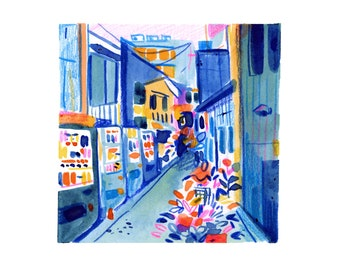 Tokyo Alley Blue -- Art Print