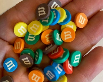 Polymer Clay Chocolate Candy yellow brown blue Miniature M/&M inspired orange green Slime Round US Seller Candies red