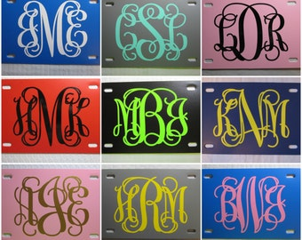 Personalized MONOGRAM License Plate ~Choose your Plate AND Monogram Color~ | initials | curly | vine | custom license plate | solid | vanity