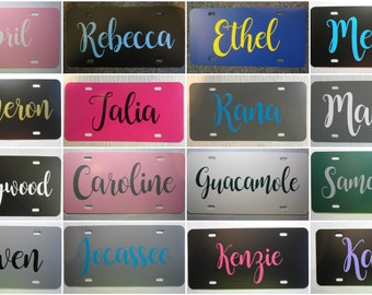 Personalized License Plate ~Choose your Plate AND Lettering Color~ | fancy | curly | vine | custom license plate | NAME | solid | vanity |