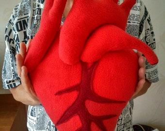 """Anatomical heart cushion plush - Plush heart pillow - 13,8"""""""