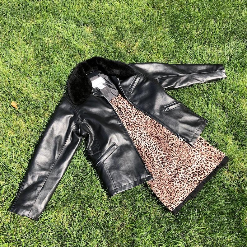 Black Faux Leather Biker Jacket with Fur Collar