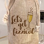 Let's Get Fizzical Champagne Bottle Gift Bag | Funny Gift Wrap | Girlfriend Boyfriend Gift | Husband Wife Gift | Champagne Bubbles