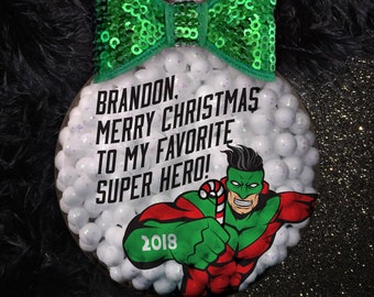 Personalized Super Hero Handmade Christmas Holiday Ornament Gift | Coaster | Kids Ornament | Superman Ornament | Boys Ornament | Hero Xmas